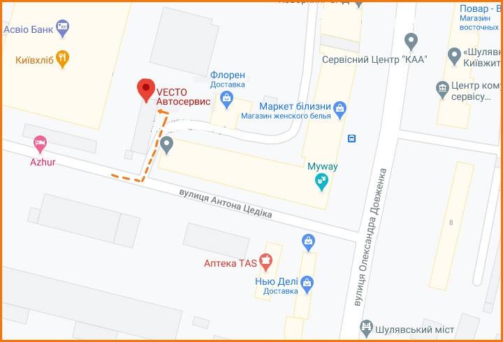 Карта проезда в автосервис VECTO